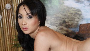 Full-bosomed asian MILF with hot ass gets rid of her lacy lingerie