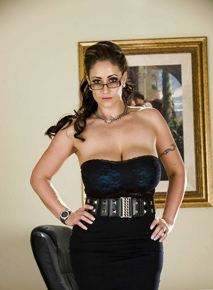 Voluptuous office lady in glasses stripping off her suit and lingerie