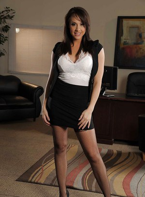 Hot office babe in stockings Chanel Preston uncovering her gorgeous curves