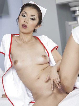 Petite asian nurse Marica Hase slipping off her uniform and lingerie