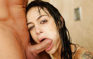 Angelina Valentine gets her shaved twat banged hardcore in the shower