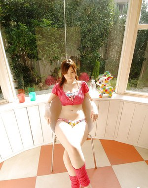 Nasty asian babe Nami Ogawa playing with her massive knockers
