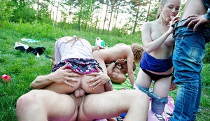 Jizz starving coeds have a fervent groupsex at the outdoor party