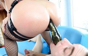 Sultry femdom in stockings Lea Lexis fucks her boyfriend by a big strapon