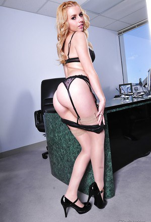Blonde office cutie in glasses Lexi Belle gets rid of her clothes