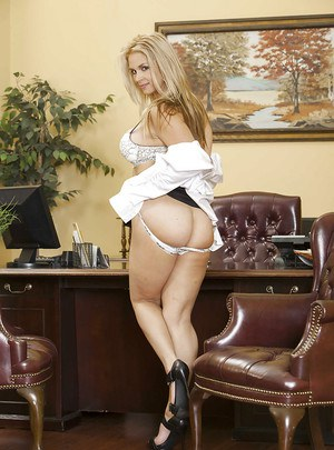 Smoking hot secretary Sarah Vandella stripping in the office