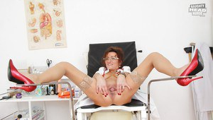Filthy mature nurse in glasses takes off her panties and exposes her cunt