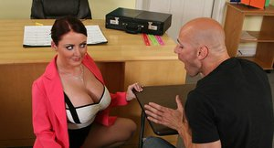 Full-bosomed teacher Sophie Dee gets hammered in the classroom