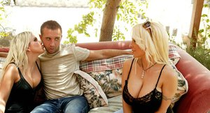 Big busted MILF Holly Halston gets her shaved pussy cocked up outdoor