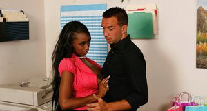 Ebony vixen Codi Bryant gets her shaved twat drilled by a white prick