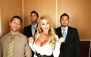 Lusty MILF with giant jugs Taylor Wayne gives a titjob and gets shagged