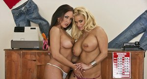 Lustful lesbians with huge boobs playing with their sex toys