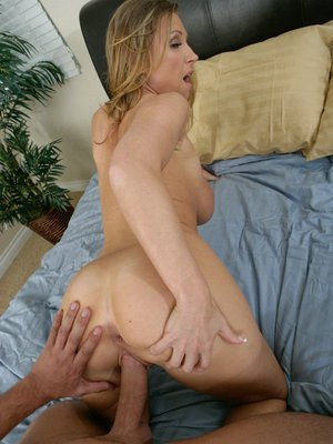 Lusty blonde with big round tits gets her love holes cocked up