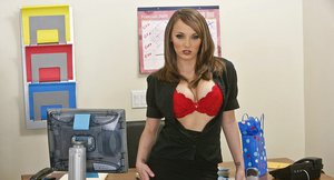 Fuzzy office chicks have a fervent lesbian sex at the work place