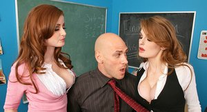 Frisky schoolgirls with hot bodies have threesome fun with a well-hung lad