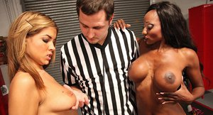 Lusty ebony chick and her latina friend have a threesome with a lucky guy
