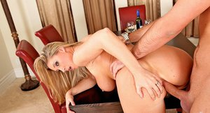 Bosomy blonde Devon Lee gets her ass shoved by a big meaty pole