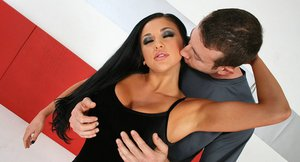 Busty vixen Audrey Bitoni takes a hard prick in her shaved pussy