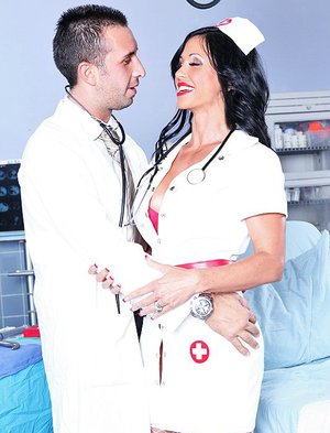 Ravishing nurse Keiran Lee tskes a big cock in her shaved love holes