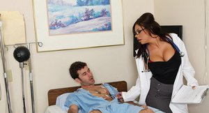 Gorgeous doctor James Deen gets anal fucked by her studly patient