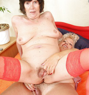 Lecherous mature ladies with flabby jugs have a passionate lesbian sex