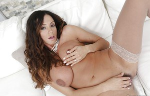 Cuddly latina in stockings Ariella Ferrera showcasing her ravishing curves