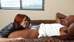 Sultry redhead MILF Joslyn James sucks and fucks a big fat black cock