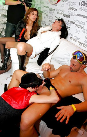 Slutty MILFs getting their twats shoved with dicks at the sex party