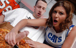 Slutty cheerleader Sara Stone gets fucked by a naughty pizza-guy