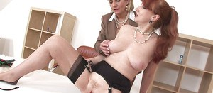 Salacious office lady has some lesbian fun with her friend