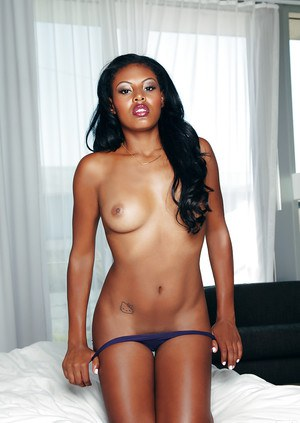 Sweet ebony babe with small tits Teresa Ransom slipping off her lingerie