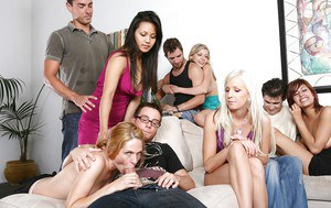 Frisky sluts enjoy a hardcore sex orgy at the house party