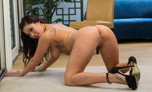 Chubby asian babe London Keyes stripping and spreading her legs