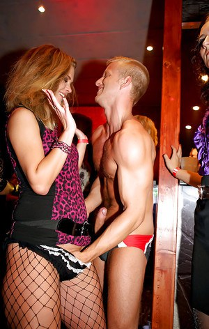 Jizz starving amateur hotties show off their blowjob skills at the club party