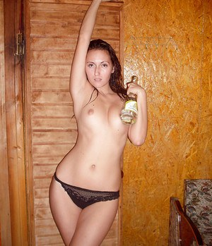 Drunk european hottie demonstrating her seductive curves