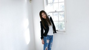 Graceful asian girl in jeans Seira Narumi slowly stripping