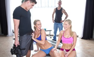Saucy blondes have some hardcore CFNM fun with two huge dicks