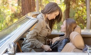 Sexy chick Dani Daniels making out with her lesbian friend outdoor