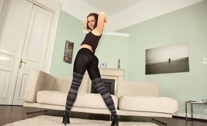 Petite european brunette with neat ass slipping off her clothes