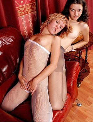 Lusty european amateurs in pantyhoses have some fun for a homemade video