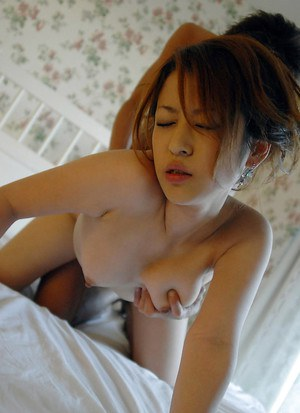 Saucy asian doll in kimono gives a sensual blowjob and gets shagged