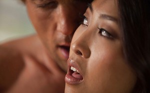 Asian hottie Sharon Lee gets fucked and takes a cumshot on her belly