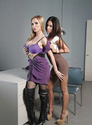 Graceful lesbians Nikki Benz & Kirsten Price has some strapon fun