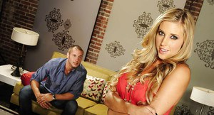 Pretty blonde Samantha Saint gets nailed and takes a cumshot on her belly