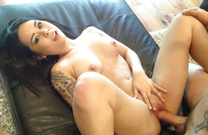 Asian hottie with tattooes Kira Sinn gives head and gets shagged