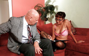 Ebony lassie in glasses Jasmen Lopez sucks and fucks a hard white dick