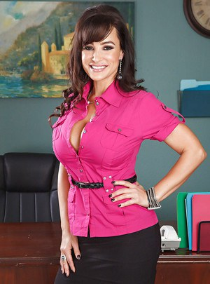 Stupendous office lady Lisa Ann stripping and spreading her legs