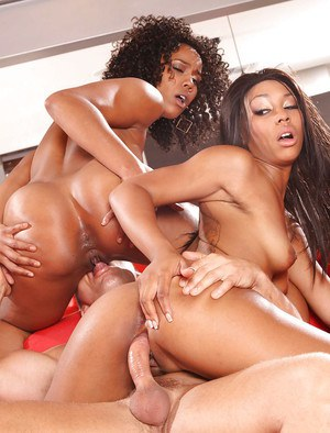 Misty Stone & Leilani Leeane share a white boner and a creamy cumshot