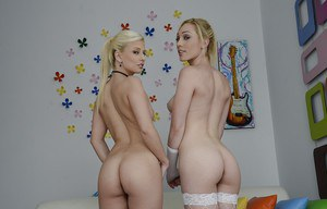 Slim pornstars Jessie Volt & Lily Labeau stripping off their lingeries