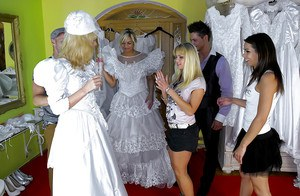 European lassies in wedding dresses have a fervent wet groupsex